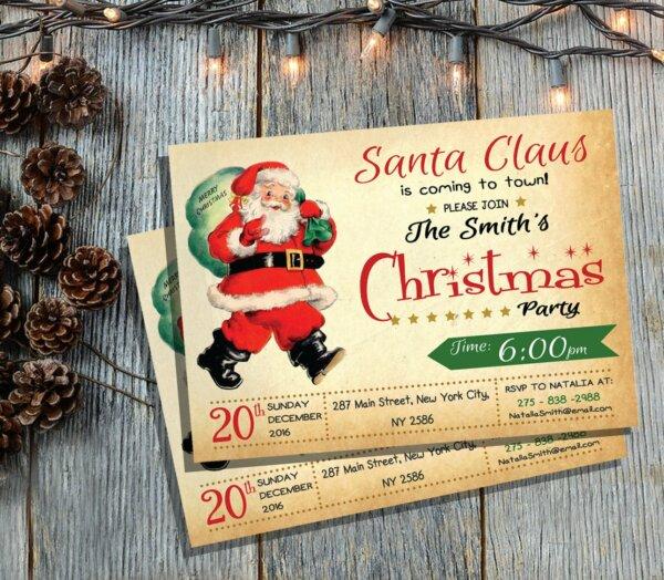 Retro Santa Christmas Party Invitation, Retro Christmas Invitation, Santa Christmas Party Invitation, Christmas Party Invitation