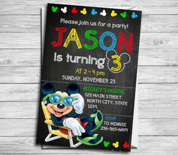 Mickey Mouse Invitation, Mickey Mouse Invitation, Mickey Mouse Birthday Invitation, Mickey Ticket, Mickey Mouse Thank You Card