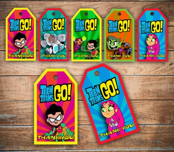 Teen Titans Go Thank You Tags, Teen Titans Go Favor Tags, Teen Titans Go Birthday, Party Favors, Printable Labels, Goody Bag Tag