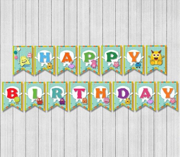 Monster Birthday Banner, Monster Banner, Monster Birthday Party, Decoration, Monster, Five Nights at Freddy's, Birthday Banner