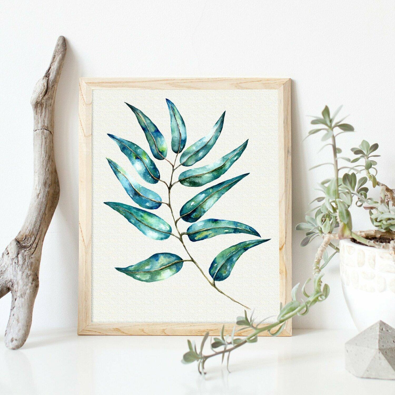 Eucalyptus Leaf Watercolor, Eucalyptus Watercolor Tropical Bright Leaves, Palm leaf Wall Art, Palm leaf Clipart, Tropical Clipart    WC003