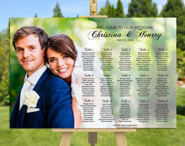 Wedding Seating Chart, Custom Photo Seating Chart, Wedding Seating Assignments, Printable, Digital Image, Table Assignment Chart    W36ST_1