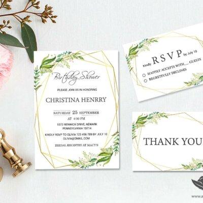 Wedding suite, Custom bridal shower, thank you, rsvp, Green leaf wedding, Leaf watercolor, Cheap Wedding Invitation || WEBS_55