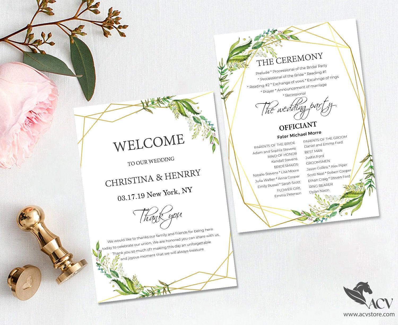 Wedding suite, Custom wedding programs, ceremony, Green leaf wedding, Leaf watercolor, Cheap Wedding Invitation