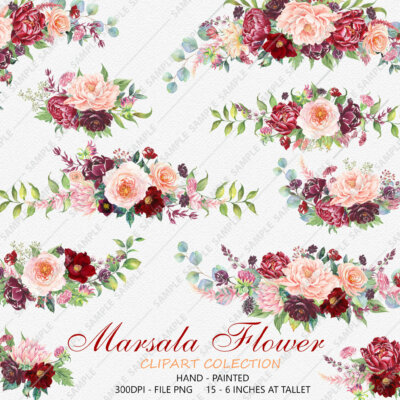Marsala Flower Clipart, Marsala Watercolor Flowers, Boho Bordo Watercolor Clipart, Burgundy Blush Wedding, Flower clipart wedding | WCMPN_01