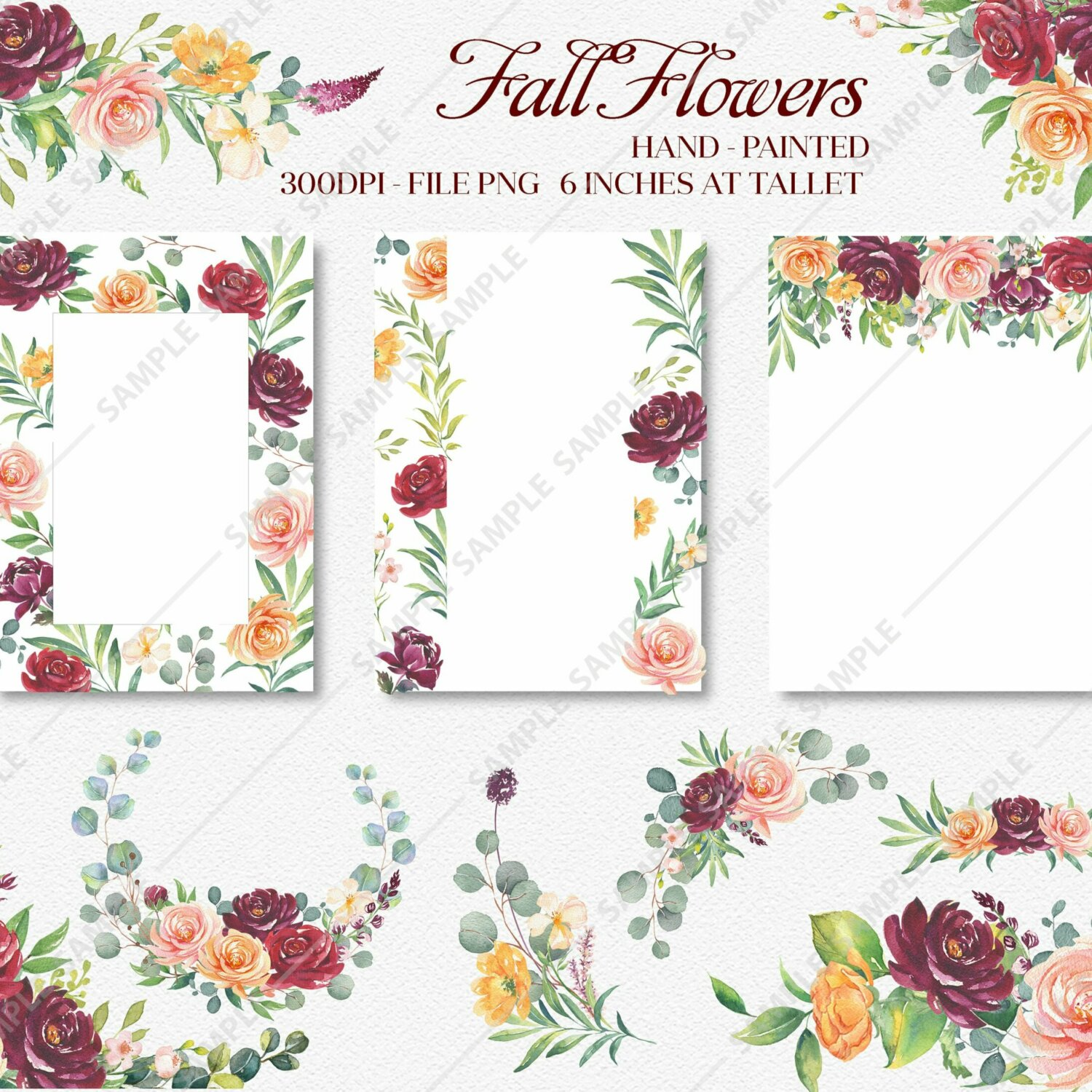 Roses Orange Flower Clipart, watercolor flower clipart burgundy and blush, Boho Bordo Watercolor Clipart, Roses Autumn clipart wedding | WCCRF_06