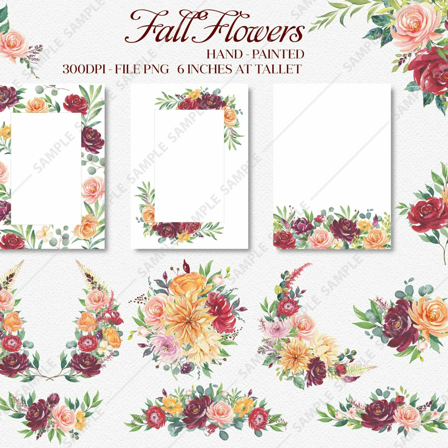 Roses Orange Flower Clipart, watercolor flower clipart burgundy and blush, Boho Bordo Watercolor Clipart, Roses Autumn clipart wedding | WCCRF_07