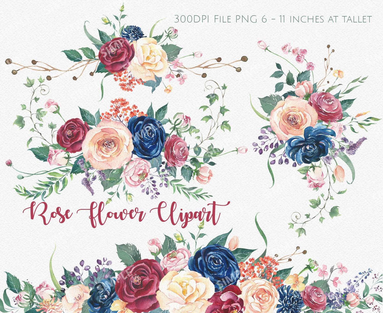 Marsala Flower Clipart, Marsala Navy Watercolor Flowers, Boho Bordo Watercolor Clipart, Burgundy Blush Wedding, Flower clipart wedding   WCCTRF_2
