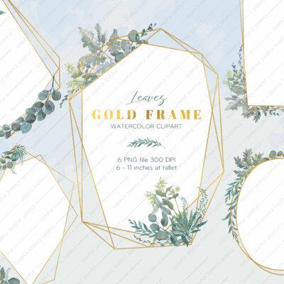 Clipart Frame Greenery, Watercolor Greenery Geometric, Frames Clip Art Greenery, Branchy Frames, Invitation Green Leaves   WCFR_07