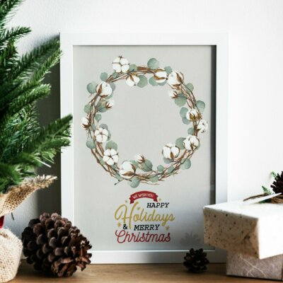 Christmas Clipart Collection, Christmas Clipart Wreath, Christmas cotton Wreath, Reindeer, Penguin, Snowman, Snowflake, Holiday Clipart   WCCC_38