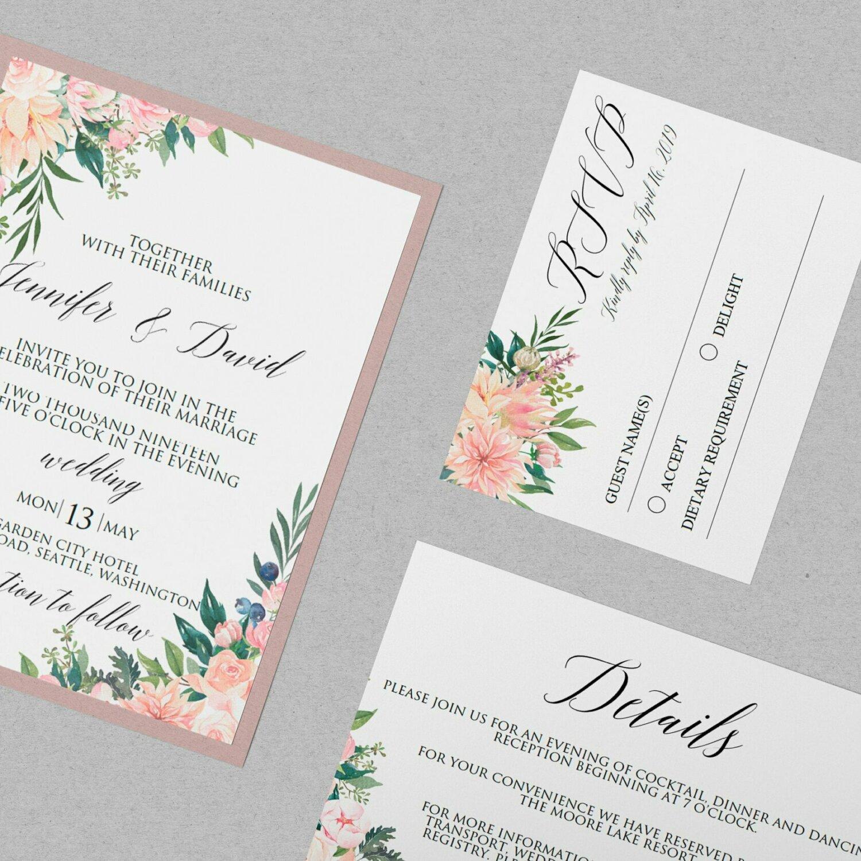 Wedding Flower Invitation Template, Floral Blush Wedding Invitation, Rose Wedding Invitations, Flower Wedding Invite || WEIN_68_04_PDF
