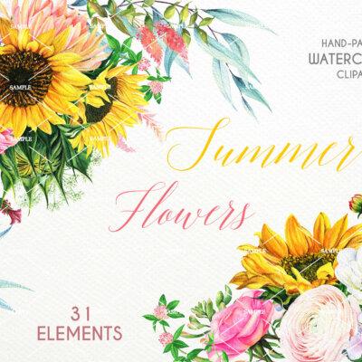 Sunflower Watercolor Flower clipart, Sunflower Roes Anemone Ranunculus Dahlias, Sunflower Summer Herb, Flower Wedding invitation   WCSD_01