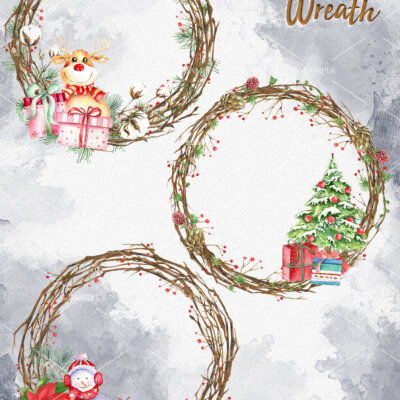 Christmas Clipart Collection, Christmas Clipart Wreath, Christmas cotton Wreath, Reindeer, Penguin, Snowman, Snowflake, Holiday Clipart   WCCC_37